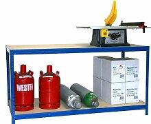 Arbeitstisch HxBxT: 100x150x120 cm, 2 Böden, 300 KG/Holzboden, blau (Packtisch, Verpackungstisch, Montagetisch, Werkbank)