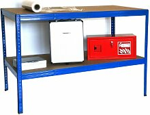 Arbeitstisch HxBxT: 100x150x80 cm, 2 Böden, 250 KG/Holzboden, blau (Packtisch, Verpackungstisch, Montagetisch, Werkbank)
