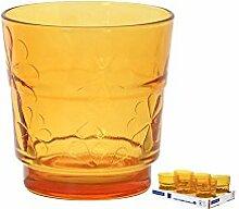 ARC Set Von 6 Gläser Funnyflowers Glas Orange 25 Glas Weinglas Und Kelch