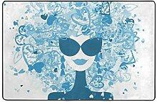 Architd Badezimmerteppich mit Sonnenbrille,