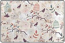 Architd Badezimmerteppich mit Vogelmuster,