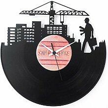 Architekt Ingenieur Geschenkidee Universitätsabschluss Design Vinyl Schallplatten-Uhr Schwarz Vinyluse original