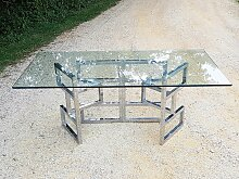 Architektonischer Esstisch aus Glas mit