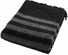 ARCTIC 59R101 Wolldecke Retro, Wolle, schwarz, 200,0 x 130,0 x 1,0 cm