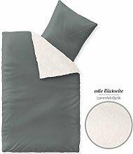 Arctic Bettwäsche 155x220, weich und wärmend, Nicki Bettbezug, grau aqua-textil 1000532