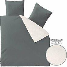 Arctic Bettwäsche 200x220, weich und wärmend, Nicki Bettbezug, grau aqua-textil 1000536