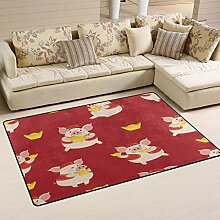Area Rug 60x39 Zoll Cute Pig Gold Geld Chinese New