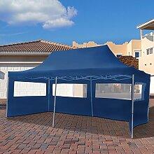 Arebos Gartenpavillon 4 Seitenteile Faltbar Pavillon Gartenzelt Partyzelt Dunkelblau 6x3m