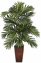 Areca Palm With Bamboo Vase Silk Plant by NNAT