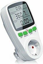 Arendo–Messgerät der Energiekosten, | wattmetre |-Zähler Stromverbrauch | Anzeige Zeit/Energie/Kosten | Set/UP/Kosten Bedienelemente Energie | 3680W | weiß