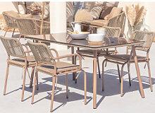 Arhiza Gartentisch und 4 Stühle Set Braun Mokka