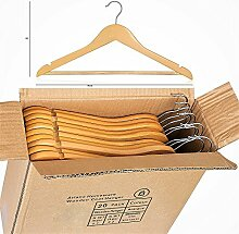 ARIANA, Kleiderbügel aus massivem Holz, mit Hosensteg, hochwertig, stabil, multifunktional, natürliche Oberfläche, 20 Stück