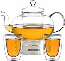 Aricola Teeset Melina 1,3 Liter. Glas-Teekanne 1,3