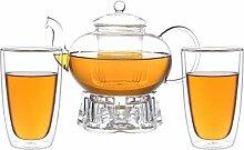 Aricola Teeset Melina 1,8 Liter. Glas-Teekanne 1,8