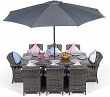 Arizona Luxus-Rattan Set, rechteckig, 8 Sitzer,