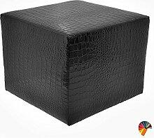 Arketi-com Sitzwürfel Schwarz Kunstleder Wasserabweisenden Wirkung Krokodil Maß 55x55x45 cm