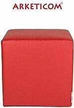 Arketicom Sitzwürfel für Kinder, gehämmertes Kunstleder - abnehmbar und waschbar - und Polyurethan, grün, gelb, pink, fuchsia, blau, hellblau, rot, orange, 25x 25x 25cm 25 cm ro
