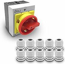 ARLI Hauptschalter 4-polig (16A Gehäuse + 10 Kabelverschraubung Grau)
