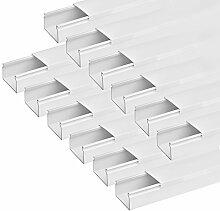 ARLI Kabelkanal schraubbar 60x40mm PVC 18m Installationskanal Wand und Decken Montage allzweck für aller Art von Kabel Haus Büro TV Lautsprecher Telefon Sat Internet Lan