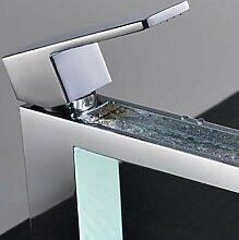 Armatur Dusche / Badewanne Wasserhahn / Bad Waschbecken Wasserhahn - Contemporary - Wasserfall - Messing (Chrom)