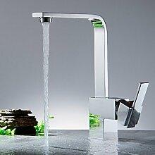 Armatur für die Küche-Messing-Zeitgenössisch-Wasserfall-Nickel polier