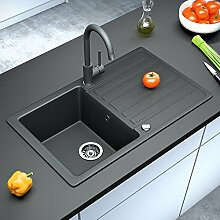 Armatur und Spüle Küchenarmatur mit Granit Verbundspüle Küchenspüle Einbauspüle Auflage 760 x 460 mm + Drehexcenter + Siphon Spülbecken reversibel (Schwarz)