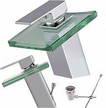 Armatur Waschbecken Glas / Wasserfall Armatur + Ablaufgarnitur