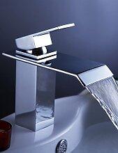 Armaturen f¡§1r Waschbecken - Zeitgen?ssisch - Wasserfall - Messing (Chrom)
