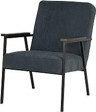 Armlehnen Sessel in Blau Cordstoff