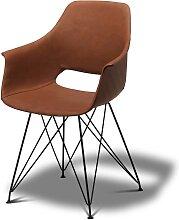 Armlehnenstühle in Braun Kunstleder Stahl (2er
