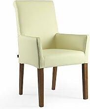 Armlehnstuhl Galdo Leder Creme Weiß - Nussbaum | Ledersessel Lederstuhl Sessel