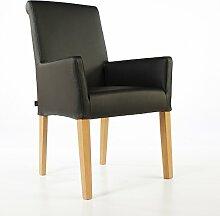 Armlehnstuhl Galdo Leder Schwarz Beine Eiche | Ledersessel Lederstuhl Sessel