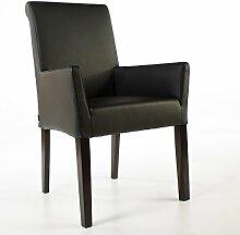 Armlehnstuhl Galdo Leder Schwarz Beine Wenge | Ledersessel Lederstuhl Sessel
