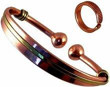 Armreif Magnetisch Kupfer Und Messing Für Damen / Herren + Magnetischer Kupferring Mit Geätzten Linien Kombi Geschenkset - Mittelgroßer Ring: 19-21mm