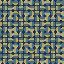 Arne Jacobsen 1774 Vliestapete geometrisches kreismotiv dunkelgrün und gold auf schwarz