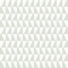 Arne Jacobsen 1779 Vliestapete graphisches Trapezmotiv graugrün und mattweiß