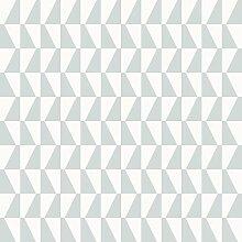 Arne Jacobsen 1781 Vliestapete graphisches Trapezmotiv türkis und mattweiß