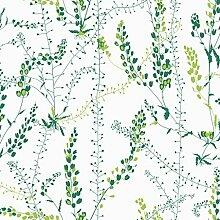 Arne Jacobsen 1787 Vliestapete Blattranken und Blütenrispen in hellgrün und dunkelgrün auf mattweiß