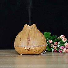 Aroma Diffuser 400ml Hochwertige Holzmaserung Ultraschall Luftbefeuchter ätherische Öle Duftzerstäuber mit 7 LED Farben fürs Wohn-, Schlaf-, Kinderzimmer (Hell)