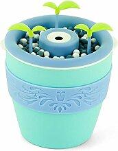 Aroma Diffuser Topf 200ML Luftbefeuchter Ultraschall Zerstäubung Aroma Diffusor können DIY Pflanzen Blumen und Gras kein Wasser Automatisch ausschalten Stumm , Blue
