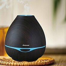 Aroma Diffusor 300ml Diffuser Luftbefeuchter Oil Düfte Humidifier Holzmaserung LED mit 7 Farben für Wohnzimmer, Kinderzimmer, Schlafzimmer, Baby- und Yogazimmer, SPA, Büro usw. (Braun)