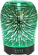 Aroma Diffusor COOSA 100ML Ultraschall Cool Mist Luftbefeuchter Glas 3D Feuerwerk Muster/ Quallen Muster ätherisches Öl Diffusor mit verstellbaren Nebel Modus 7 LED Farben und Wasserlos Auto Abschaltung für Hause Büro Schlafzimmer und Wohnzimmer (3D Feuerwerk Muster)