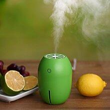 Aroma-diffusor home Yoga office Spa schlafzimmer kinderzimmer 180 ml Lemon Mini Tragbare USB-Luftbefeuchter DC 5V LED-Licht Luftreiniger Mist Maker für Home Office Car 8 x 8 x 11 cm, grün Lemon