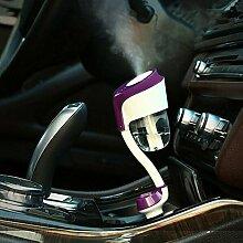 Aroma Mini Luftbefeuchter Luftreiniger Dual USB Buchse für Auto (7 * 8 * 18 cm, blau, lila, weiß) L&Y ( Color : Lila )