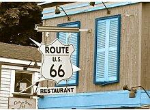 Around the World Route 66 Fotodruck in Baby Blau