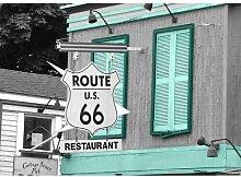 Around the World Route 66 Fotodruck in Blaugrün