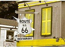 Around the World Route 66 Fotodruck in Gelb