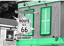 Around the World Route 66 Fotodruck in Grün East