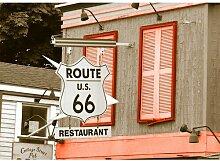 Around the World Route 66 Fotodruck in Orange East