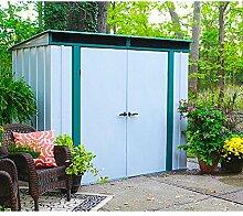Arrow Metall-Gerätehaus Euro-Lite 84 Gartenhaus Schuppen 3,0 m² altweiss-grün
